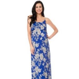 Blue Floral Maternity Maxi Dress